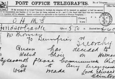 1895 Royal Command Telegram