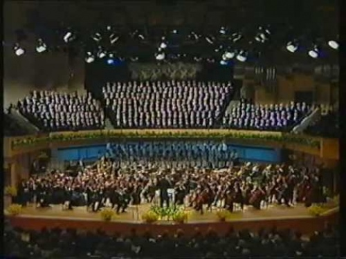 "Treorchy featuring in a massed choir singing ""Nidaros"", 1989"