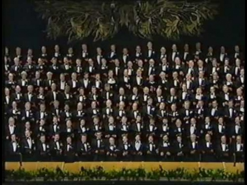 "Treorchy featuring in a massed choir singing ""Sanctus"", 1989"